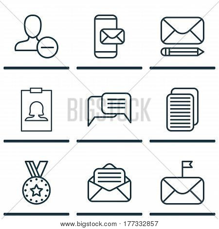 Set Of 9 Communication Icons. Includes Internet Site, Badge, Read Message And Other Symbols. Beautiful Design Elements.
