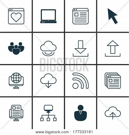 Set Of 16 Internet Icons. Includes Virtual Storage, Account, Website Page And Other Symbols. Beautiful Design Elements.