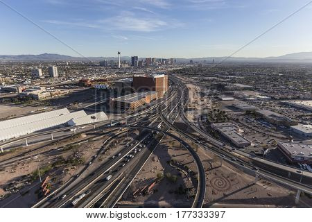 Las Vegas, Nevada, USA - March 13, 2017:  Aerial view of Interstate 15 leading towards the Las Vegas Strip.