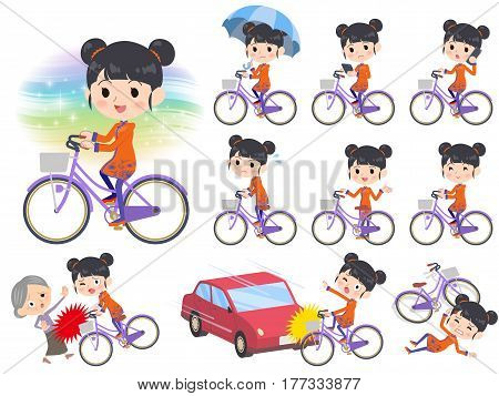 Set of various poses of Chinese ethnic clothing woman city bicycle
