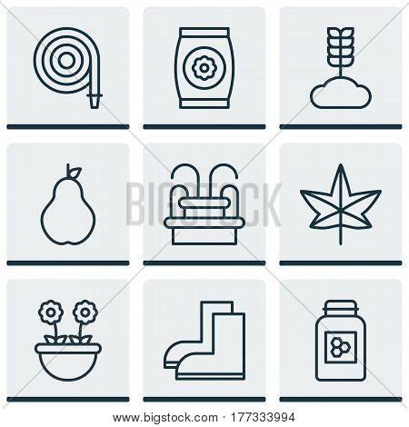 Set Of 9 Holticulture Icons. Includes Autumn Plant, Herb, Jar And Other Symbols. Beautiful Design Elements.