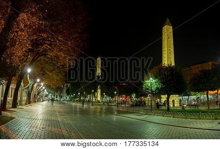 ISTANBUL, TURKEY - SEPTEMBER 26: Long exposure shot of the Walled Obelisk and Obelisk of Theodosius by night at Sultanahmet park on September 26th, 2013 Istanbul, Turkey.