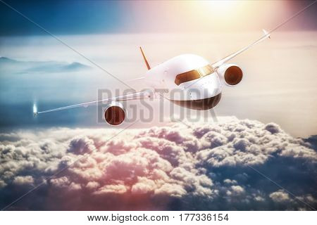 Passenger airplane flying at sunset, blue sky. Aircraft, airline transportation industry. 3D illustration