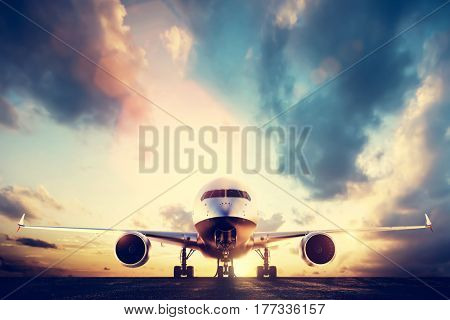Passenger airplane taking off on runway at sunset. Aircraft, airline transportation industry. 3D illustration