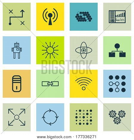 Set Of 16 Machine Learning Icons. Includes Analysis Diagram, Branching Program, Lightness Mode And Other Symbols. Beautiful Design Elements.