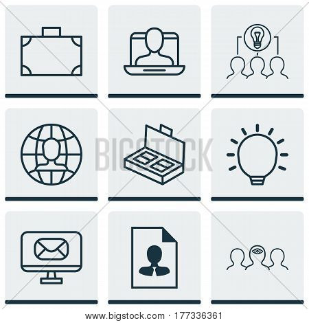 Set Of 9 Business Management Icons. Includes Great Glimpse, Coaching, Document Suitcase And Other Symbols. Beautiful Design Elements.