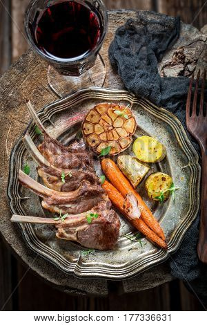 Hot Roasted Lamb Ribs With Garlic And Vegetables