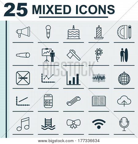 Set Of 25 Universal Editable Icons. Can Be Used For Web, Mobile And App Design. Includes Elements Such As Education Tools, Tomahawk, Stair Lift And More.