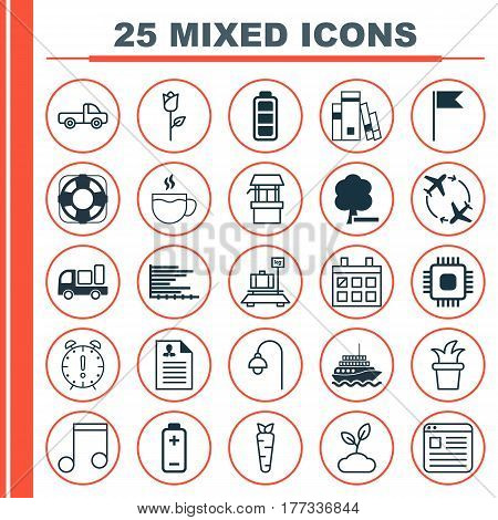 Set Of 25 Universal Editable Icons. Can Be Used For Web, Mobile And App Design. Includes Elements Such As Sea Rescue, Baggage, Fly Around And More.