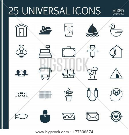 Set Of 25 Universal Editable Icons. Can Be Used For Web, Mobile And App Design. Includes Elements Such As Till, Camping House, Portfolio And More.