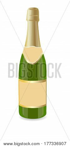 Vector drawing of a bottle of champagne