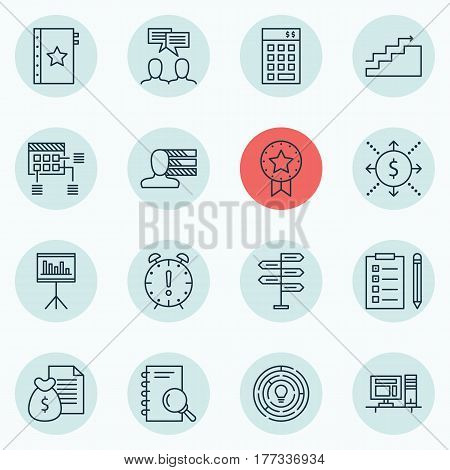 Set Of 16 Project Management Icons. Includes Opportunity, Schedule, Personal Skills And Other Symbols. Beautiful Design Elements.