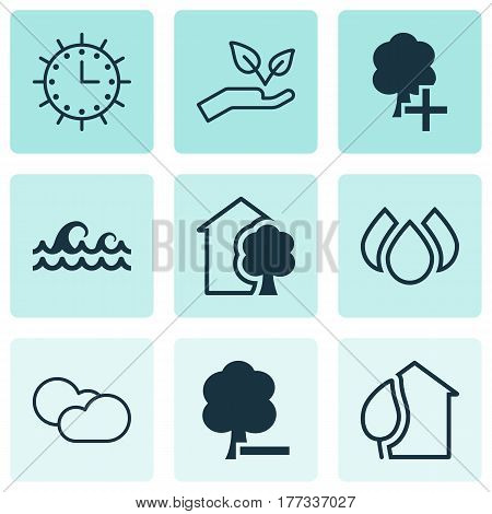Set Of 9 Ecology Icons. Includes Cloud Cumulus, House, Home And Other Symbols. Beautiful Design Elements.