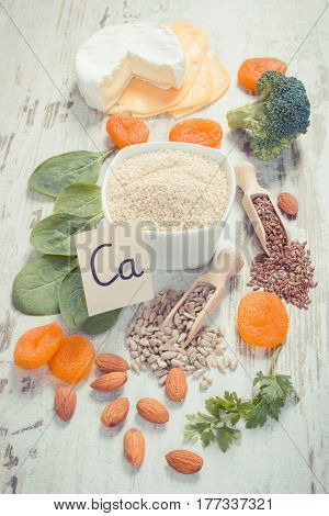 Vintage photo Ingredients or products containing calcium and dietary fiber natural sources of minerals healthy lifestyle and nutrition
