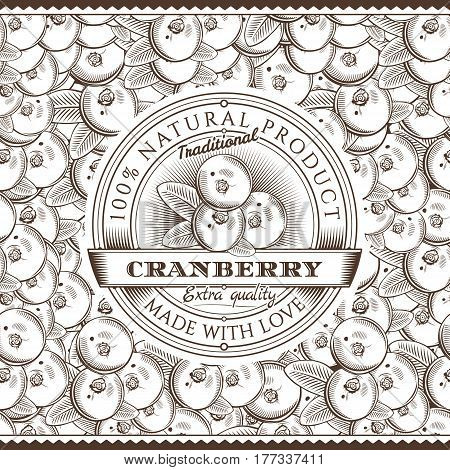 Cranberry Label on seamless pattern in vintage style.