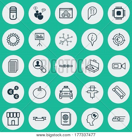 Set Of 25 Universal Editable Icons. Can Be Used For Web, Mobile And App Design. Includes Elements Such As Mainframe, Safety Belt, Web Page Performance And More.