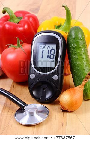 Vegetables, Glucometer And Stethoscope On Wooden Surface, Healthy Lifestyle, Nutrition, Diabetes
