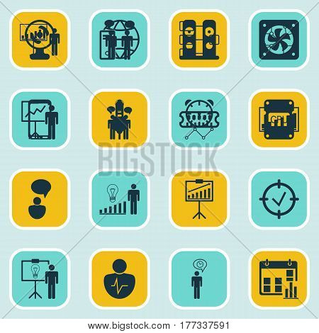 Set Of 16 Administration Icons. Includes Special Demonstration, System Structure, Project Presentation And Other Symbols. Beautiful Design Elements.
