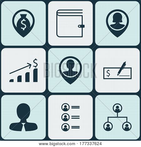 Set Of 9 Hr Icons. Includes Employee Location, Pin Employee, Bank Payment And Other Symbols. Beautiful Design Elements.