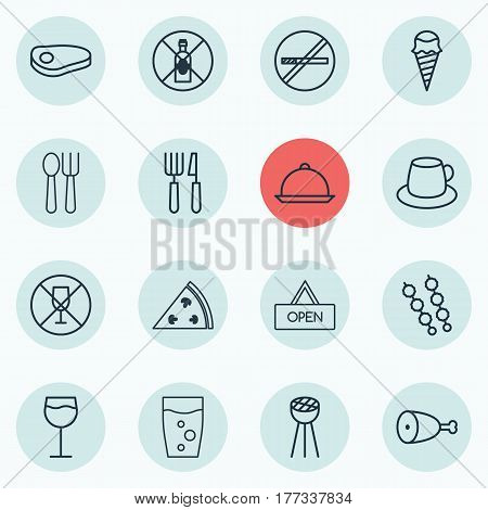 Set Of 16 Restaurant Icons. Includes Board, Fork Knife, Alcohol Forbid And Other Symbols. Beautiful Design Elements.