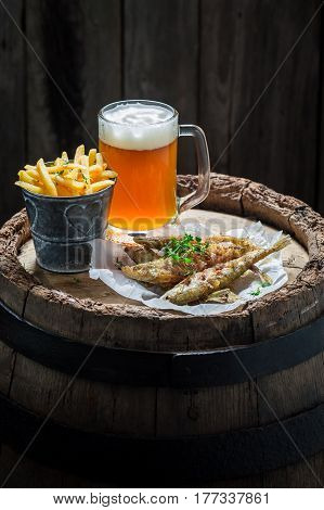 Delicious Smelt Fish And Chips With Cold Beer