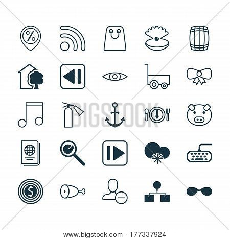Set Of 25 Universal Editable Icons. Can Be Used For Web, Mobile And App Design. Includes Elements Such As Summer Glasses, Computer Keypad, Project Analysis And More.