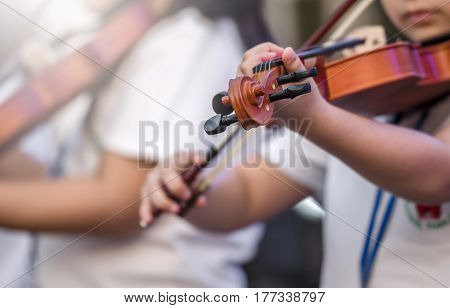 girl playing the violinshallow in the park ,shallow DOF