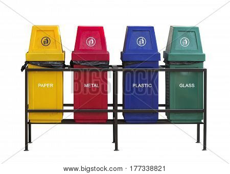 set of colorful recycle bin isolated on white backgroundwith clipping path.