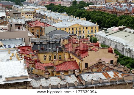 Travel to Saint Petersburg Russia. The view on the roofs of buildings and houses.