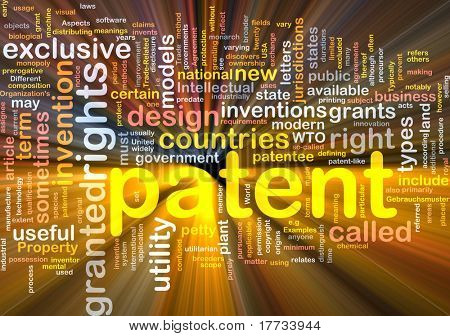 Background concept word cloud illustration of patent glowing light