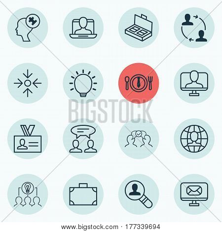 Set Of 16 Business Management Icons. Includes Great Glimpse, Cooperation, Dialogue And Other Symbols. Beautiful Design Elements.