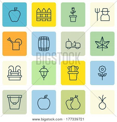 Set Of 16 Agriculture Icons. Includes Floret, Barrier, Taste Apple And Other Symbols. Beautiful Design Elements.