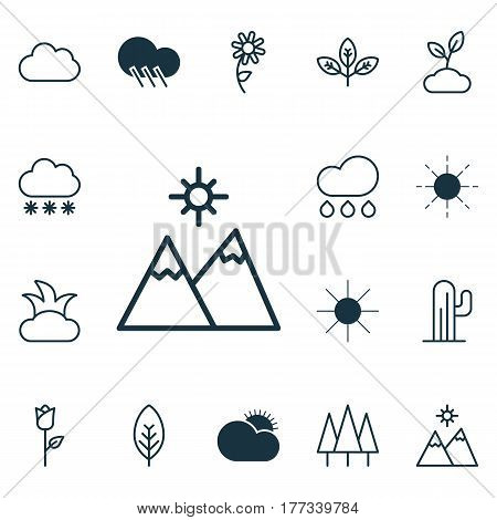 Set Of 16 Nature Icons. Includes Snowstorm, Sunshine, Cloud And Other Symbols. Beautiful Design Elements.