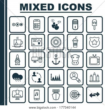 Set Of 25 Universal Editable Icons. Can Be Used For Web, Mobile And App Design. Includes Elements Such As Cooperation, Triangle Area Graph, Ship Hook And More.