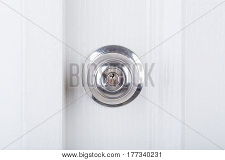 Aluminum Door Knob On White Door