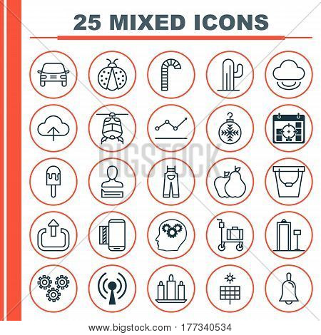 Set Of 25 Universal Editable Icons. Can Be Used For Web, Mobile And App Design. Includes Elements Such As Tree Toy, Radio Waves, Pail And More.