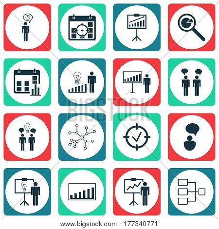 Set Of 16 Executive Icons. Includes Co-Working, Approved Target, Decision Making And Other Symbols. Beautiful Design Elements.