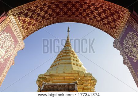 The golden pagoda from the door scene at the Pra that Doi Suthep Temple.