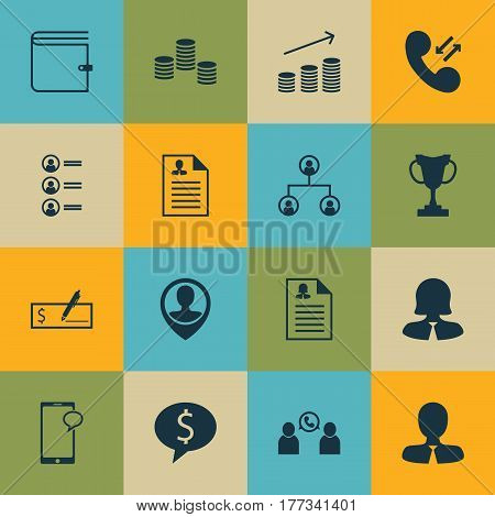 Set Of 16 Human Resources Icons. Includes Cellular Data, Phone Conference, Manager And Other Symbols. Beautiful Design Elements.
