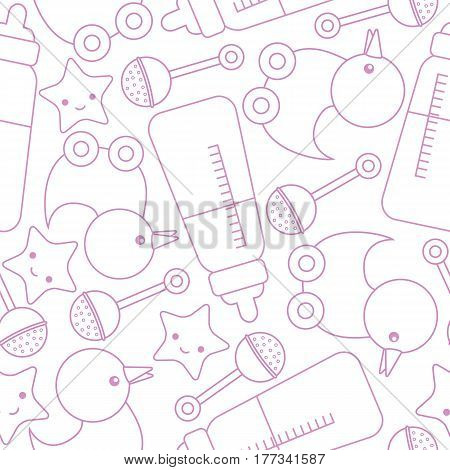 Baby shower seamless pattern with cute duck, star, and toys on pink color suitable for wallpaper, scrap paper, and postcard