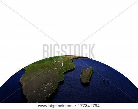 South Africa At Night On Model Of Earth With Embossed Land