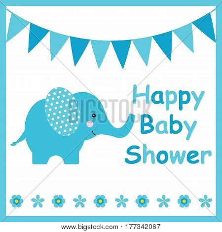Baby shower card with cute elephant suitable for postcard, greeting and invitation card