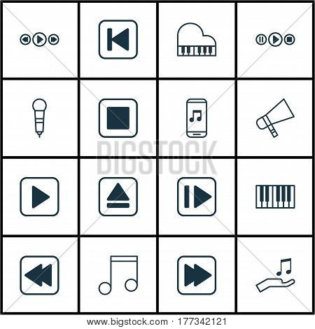 Set Of 16 Music Icons. Includes Stop Button, Note, Following Music And Other Symbols. Beautiful Design Elements.