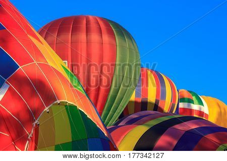 colorful air balloons at the blue sky