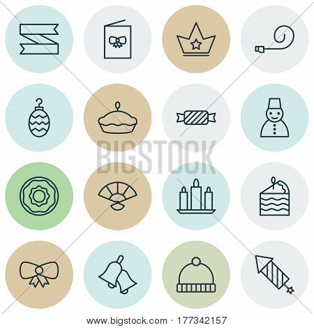 Set Of 16 Celebration Icons. Includes Ringer, Flan, Wax And Other Symbols. Beautiful Design Elements.