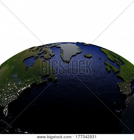 North Atlantic At Night On Model Of Earth With Embossed Land