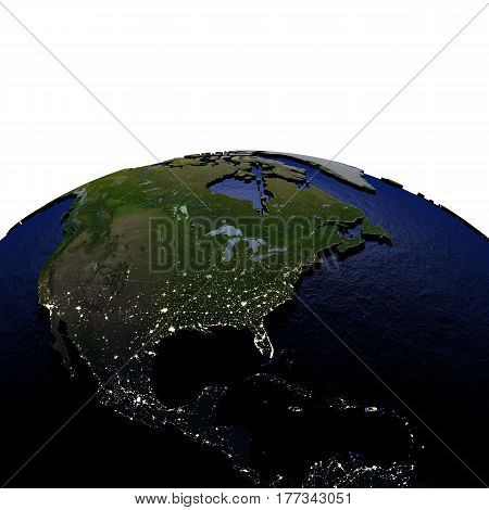 Central And North America At Night On Model Of Earth With Embossed Land