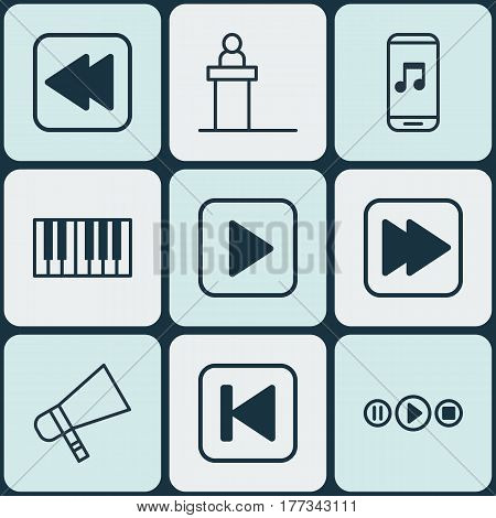 Set Of 9 Audio Icons. Includes Song UI, Audio Mobile, Run Song Back And Other Symbols. Beautiful Design Elements.