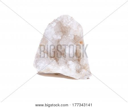 Clear crystal quartz geode with crystalline druzy center isolated on white background