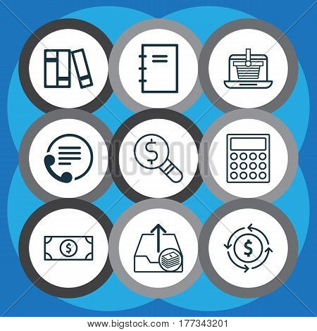 Set Of 9 Commerce Icons. Includes Outgoing Earnings, Finance, Buck And Other Symbols. Beautiful Design Elements.